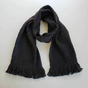 Louis Vuitton Charcoal Gray Black Logomania Scarf